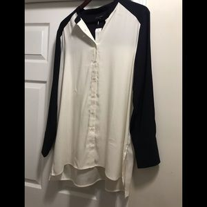 NWT Navy and Cream Ann Taylor blouse